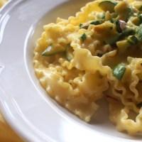 Mafaldine Pasta with Zucchini, Cream and Saffron