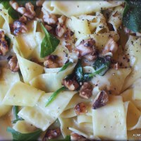 Weekend Pasta. Pappardelle with Creamy Gorgonzala, Spinach and Walnut.