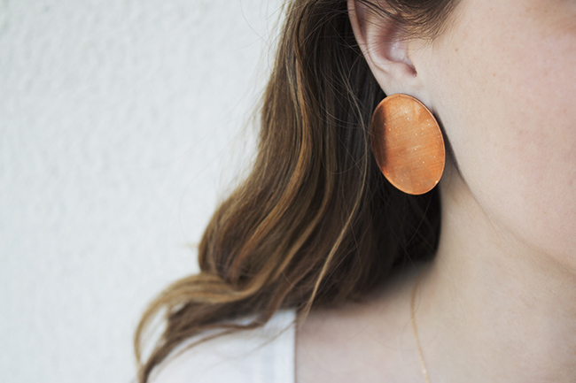 diy copper circle studs | almost makes perfect