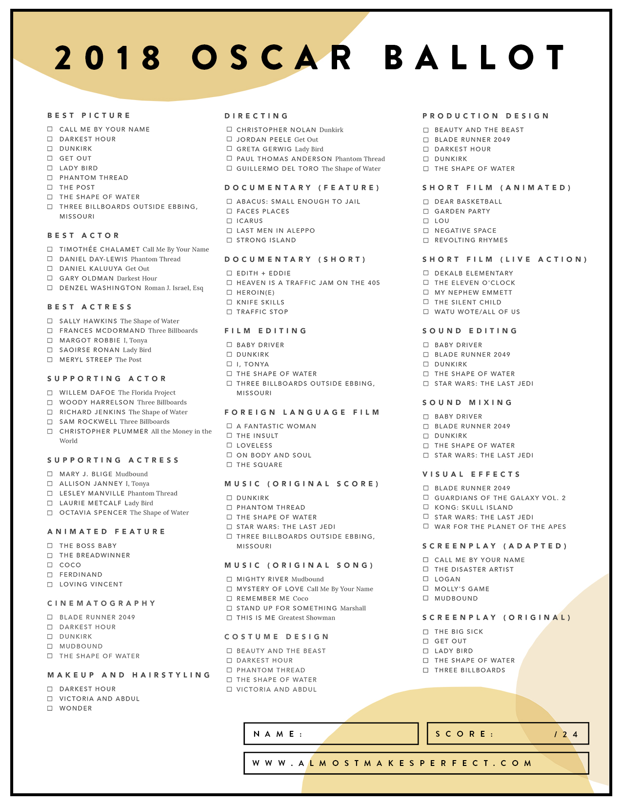 Ballot 2017 Printable Oscar