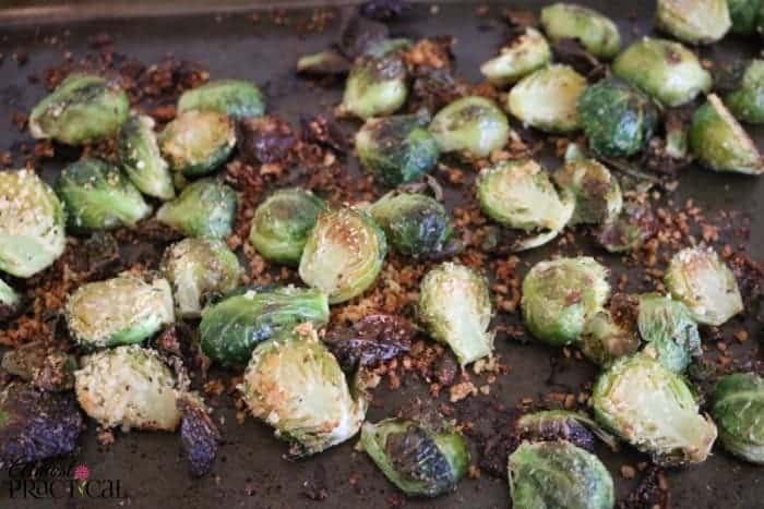And the roasted brussels sprouts with parmesan cheese are done!