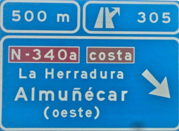 Driving from Malaga to LaHerradura Almunecar exit - photo credit HotelCaliforniaSpain
