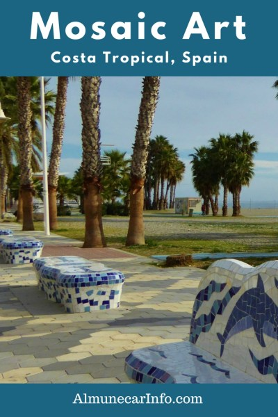 Experience Stunning Mosaic Art Along Playa Puerta Del Mar Almuñécar. A photo walk of the mosaic art along the paseo Puerta del Mar Almuñécar, Spain. What were once ordinary cement benches, are now beautiful works of art. Read more on Almunecarinfo.com