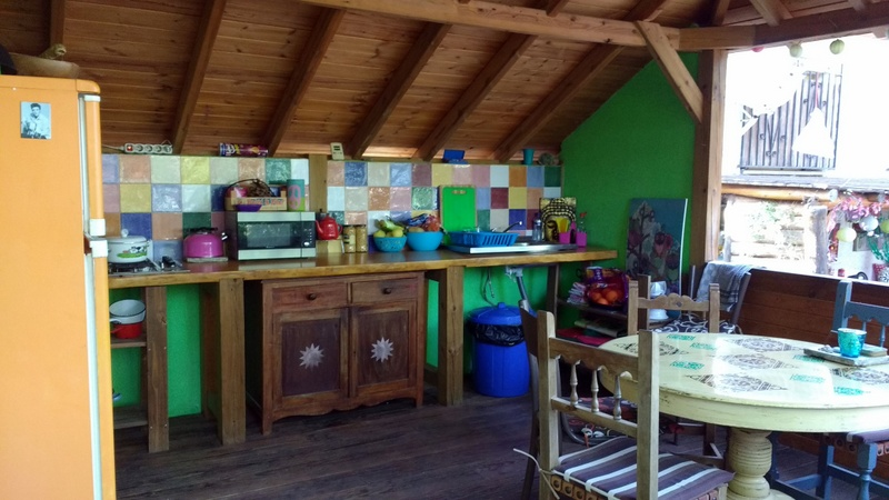 Glamping in Spain at the Nomad Xperience - communal kitchen area glamping in Granada