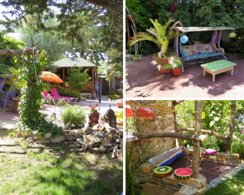 Glamping in Spain at the Nomad Xperience - communal gardens and sitting areas glamping in Granada
