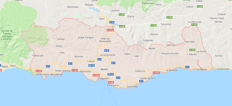 Costa Tropical is in the Granada province and stretches from Cerro Gordo Park on the west to La Rabita to the east. Almuñécar is at the heart of it all and is the popular tourist resort area, mainly for Spanish tourists.