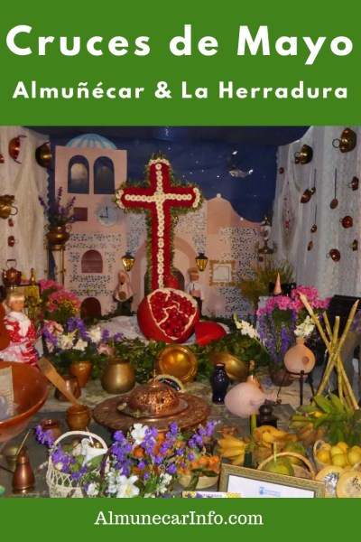 Fiestas in the streets of Almuñécar & La Herradura during the Cruces de Mayo.  With elaborate displays of flowers, crosses, lights, decorations, fiestas, and pop-up bars, in the alleys of old town in Almuñécar & La Herradura.  Be prepared for a few days and nights with displays, food, drink and a great atmosphere. Read more on Almunecarinfo.com