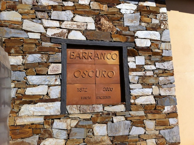 """This sign can be found on one of the houses at Barranco Oscuro. """"Vinum Excelsus"""" is Latin and can be translated as """"wines made at high altitude""""."""