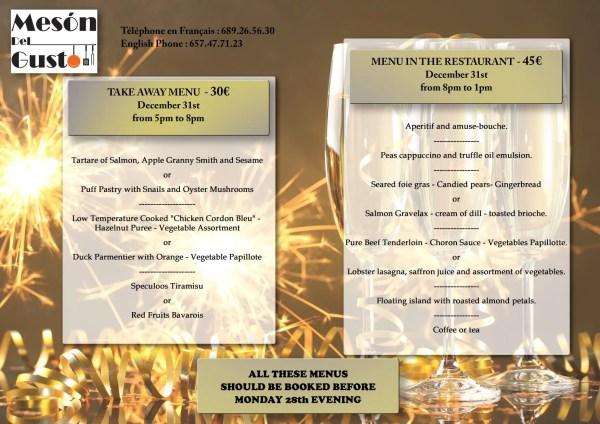 Mesón Del Gusto (on Av. Europa, just across from Majuelo Park) New Year menu