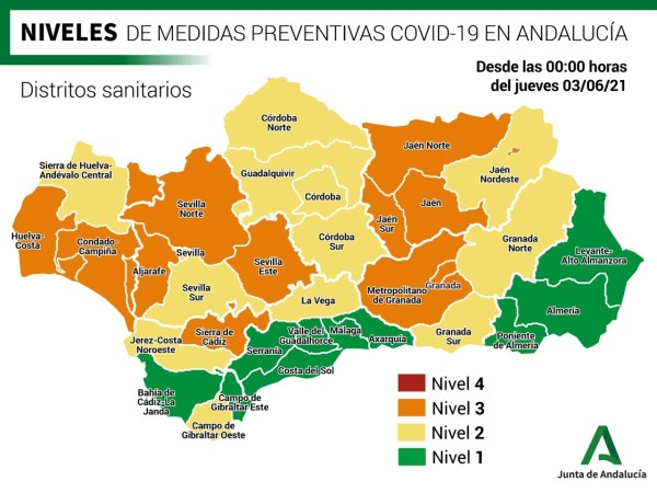 Covid measures for Granada Sur health district at Level 2 as of 03 June, 2021