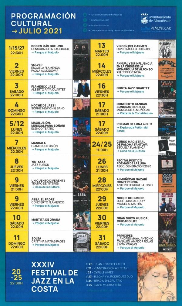 Almunecar cultural agenda and summer concerts at Majuelo Park and La Plaza del Sexi.