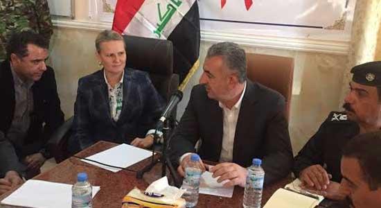 محافظ الانبار يلتقي منسقة الشؤون الانسانية في العراق ويبحث الملف الإنساني وتداعياته في المحافظة