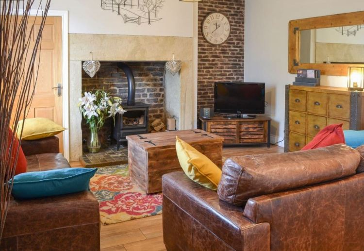 Rustic holiday cottage living room