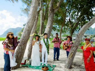 Hawaiian style ceremony at a beautiful beach
