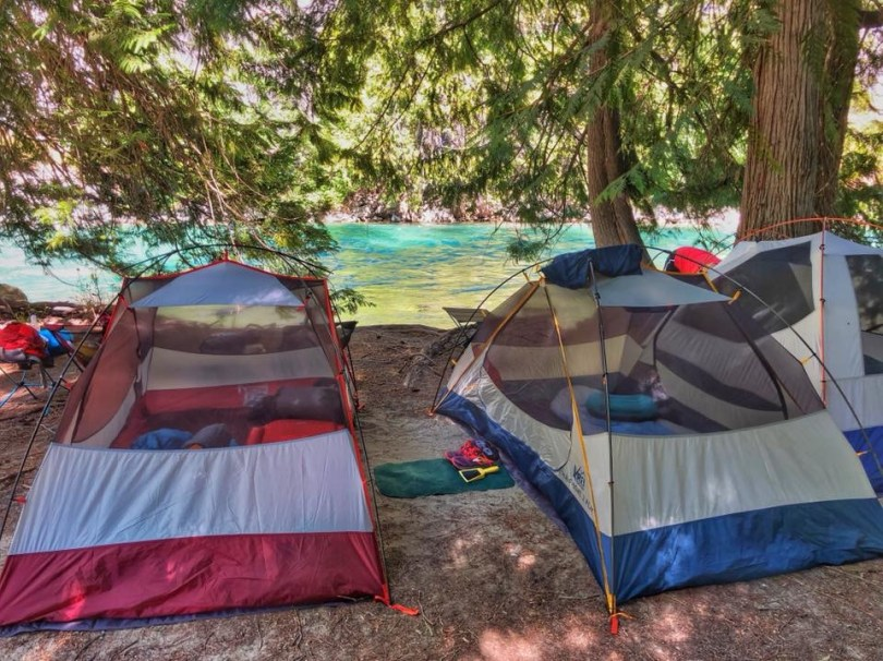 3 tents along Stehekin River - backpack trip