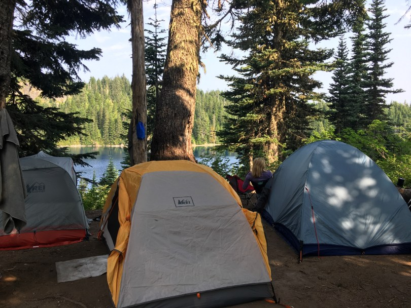 backpack tents on campsite and durable surface