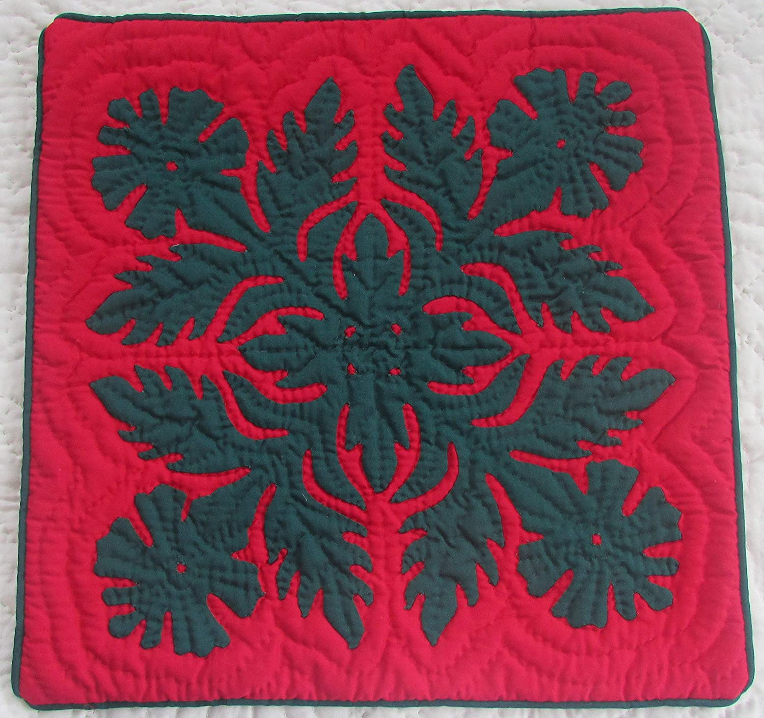 2 hawaiian quilt throw pillow cushion cover 16x16 100 hand quilted 100 hand appliqued