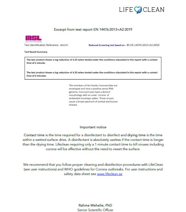 LifeClean Coronavirus test report