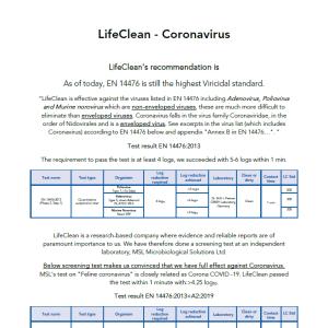 LifeClean 對殺滅冠狀病毒的測試報告