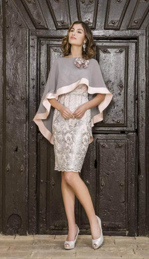 vestido fiesta rosa y plata torerita aloha moda