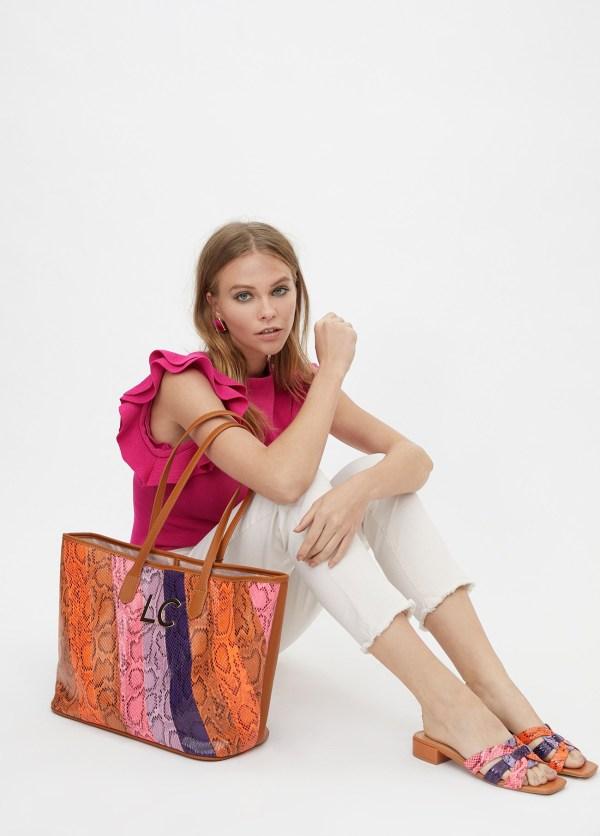 Bolso shopper animal print multicolor
