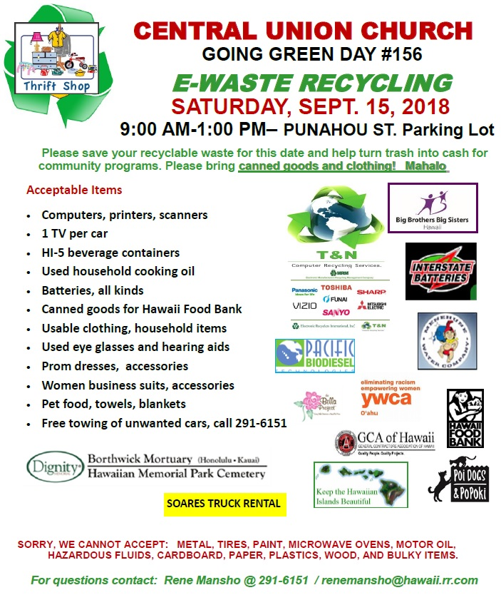 eWaste Recycling Event at Central Union Church September 15, 2018