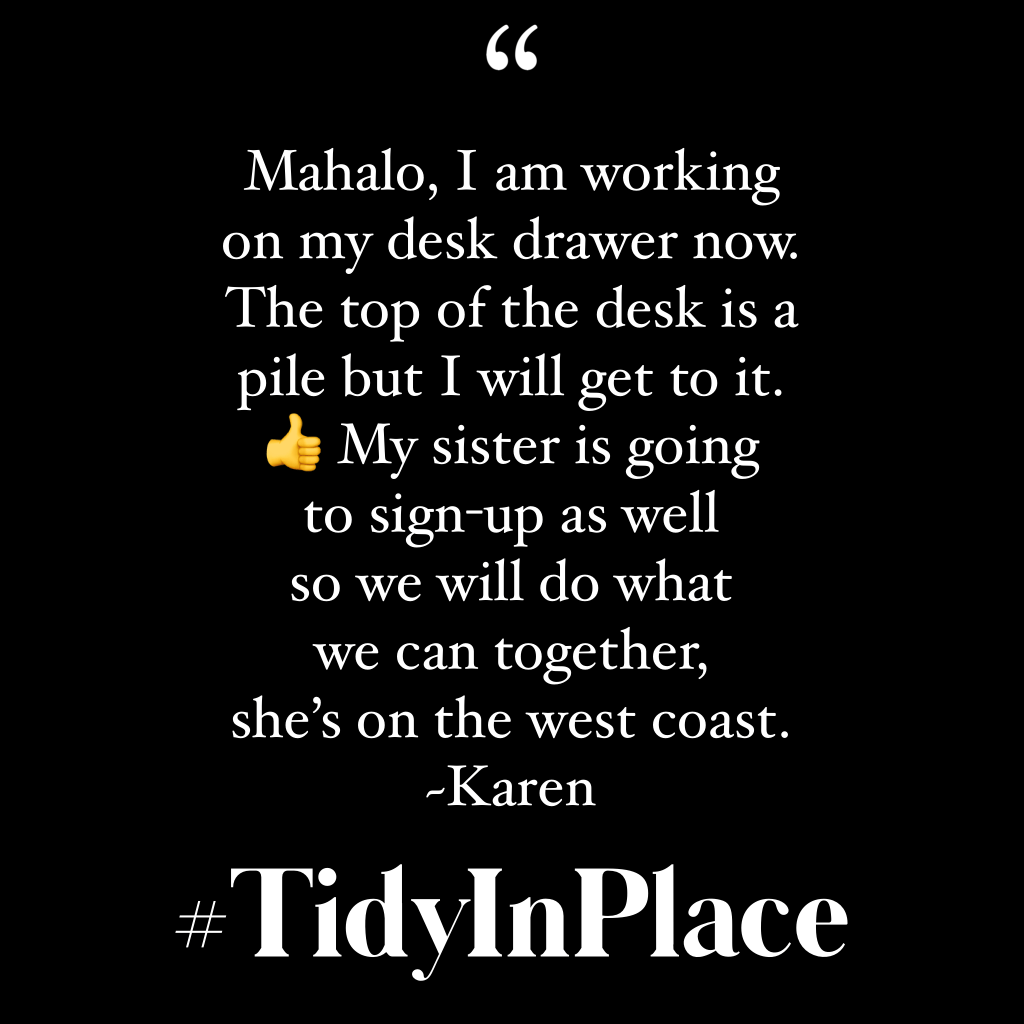 Testimonial for April 2020 Tidy-in-Place Challenge