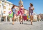 Women shopping outdoors