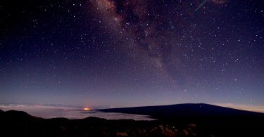 Milky Way and Volcano glow in the Distance