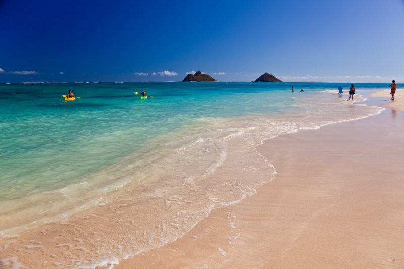 """Paddle out to the """"Mokes"""" from Lanikai Beach."""