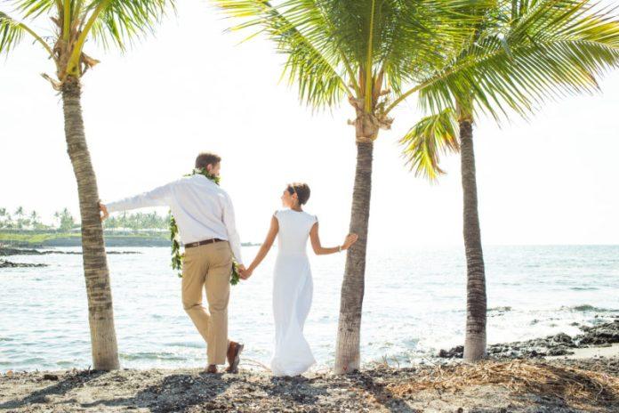 A Hawaii wedding at the beach perhaps?