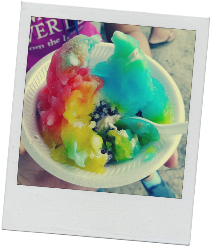 Shave ice with azuki beans at Waiola.