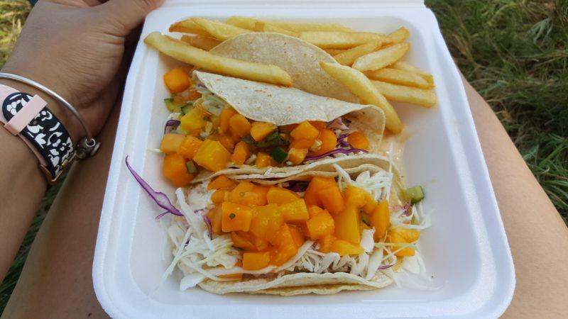 Fish tacos with mangos.