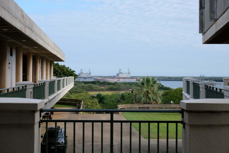 The Best Lookout For Pearl Harbor Ships Is At Leeward Community College - Pearl Harbor ships can be seen from almost everywhere on campus.