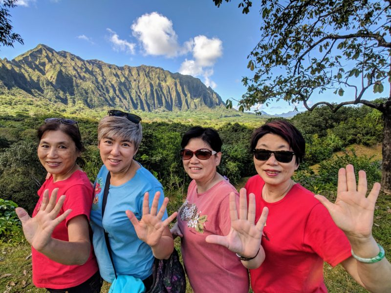 The Aunties could not stop posing in front of the Koolau mountains in Hoomaluhia.