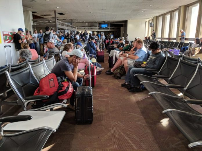 The gates at Honolulu International Airport can get crowded especially when there's construction nearby.