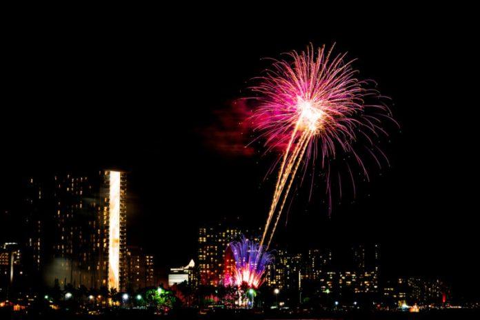 Fireworks show blasting off from Waikiki.