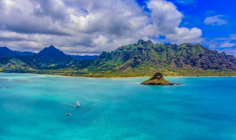 Aerial view of Chinaman's Hat (Mokolii Island).
