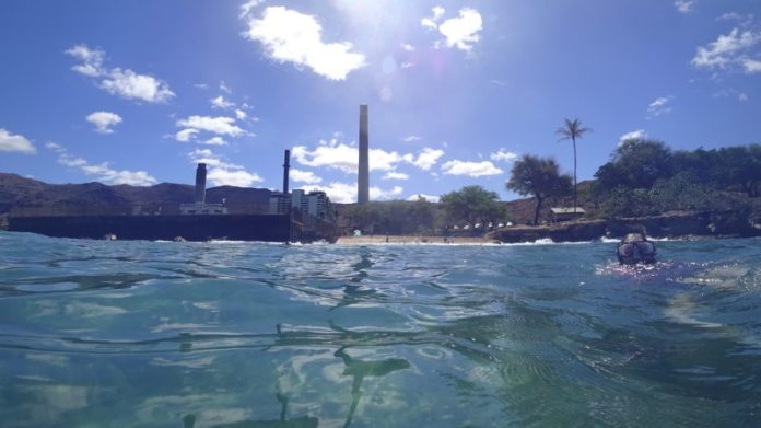 The view from the 2 pipes to Electric Beach's sandy shores.