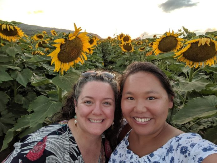 Taking pictures at sunflower fields at Waialua.