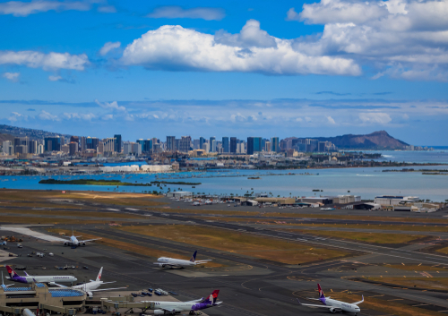 Honolulu International Airport with Waikiki and Diamond Head in the background. Editorial credit: SvetlanaSF / Shutterstock.com