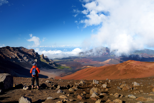 Hiking the Sliding Sands Trail in Haleakala National Park.
