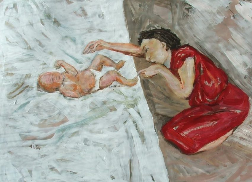 Pam Chadick Aloisa. Mother in red dress. Acrylic on paper.