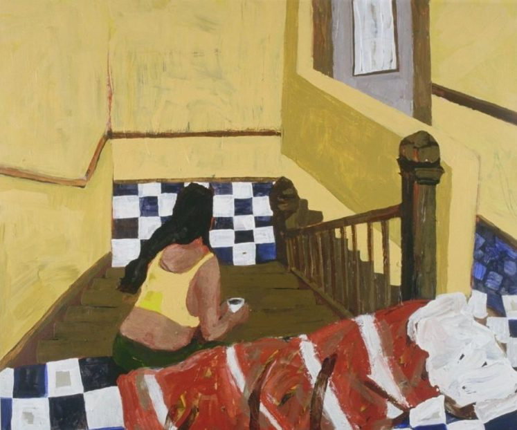 Pam Chadick Aloisa. A Cup and a Bed. Acrylic on paper.