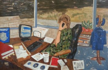 Pam Chadick Aloisa. Last To Leave, Portrait of the Colonel. Acrylic on paper.