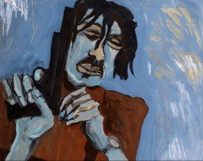 Pam Chadick Aloisa. Man with Gun. Acrylic on paper.