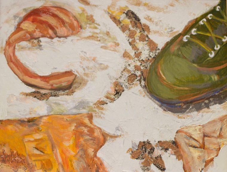 """Roman Site"" Acrylic on Clayboard. (2013) 15"" x 12"" Framed"