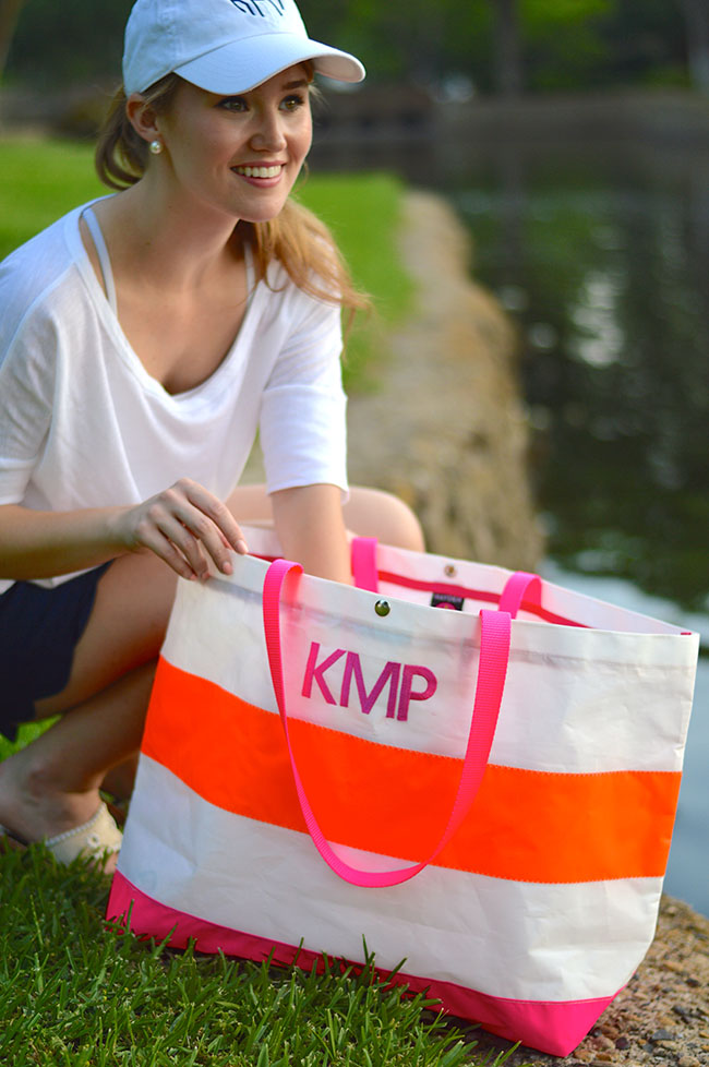 a lodestar state of southern, preppy, southern, blog, sorority, fashion, style, pink, orange, monogram, tote, bag, purse, scalloped, shorts, navy, jack rogers, baseball cap, pearls