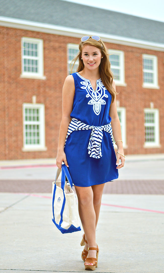 monogrammed tote, sorority girl style, blue embroidered dress, southern blogger, college girl style, navy and white striped dress