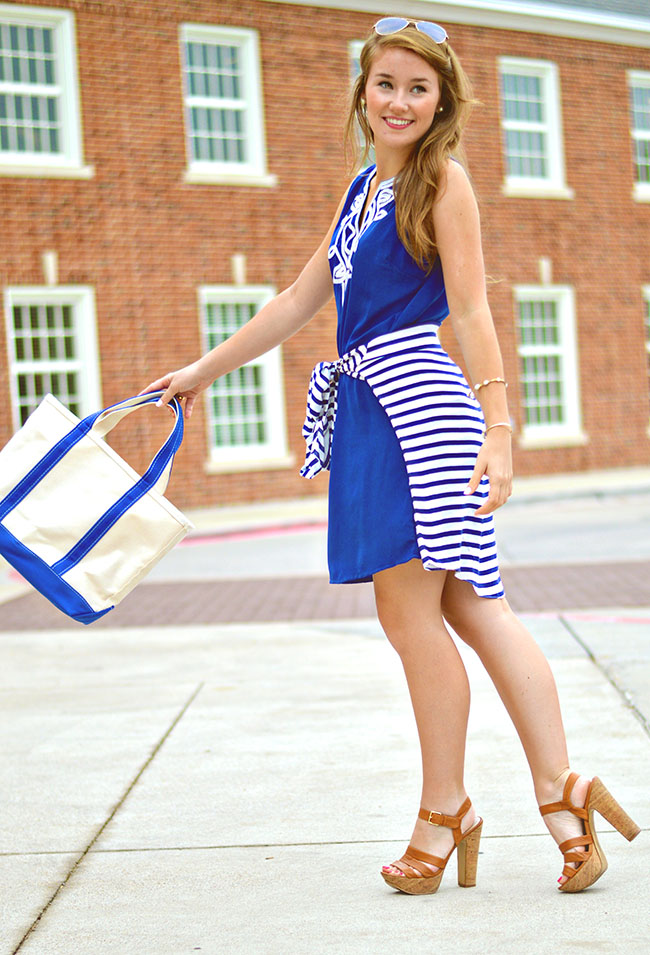 monogrammed tote, sorority girl style, blue embroidered dress, southern blogger, college girl style, navy and white striped dress, navy or nothing